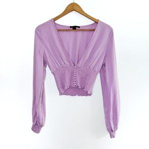 Forever 21 - Purple / Lilac Long Sleeve Crop Top S